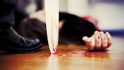 """""""Close up on a bloody knife planted on a wooden floor, a killing scene"""""""