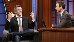 Comedian John Henson during an interview with host Seth Meyers on July 16, 2014