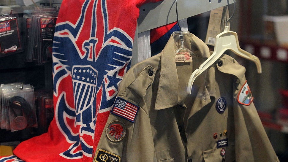 The Boy Scout logo and a uniform are displayed in a store at the Marin Council of the Boy Scouts of America on July 27, 2015 in San Rafael, California.