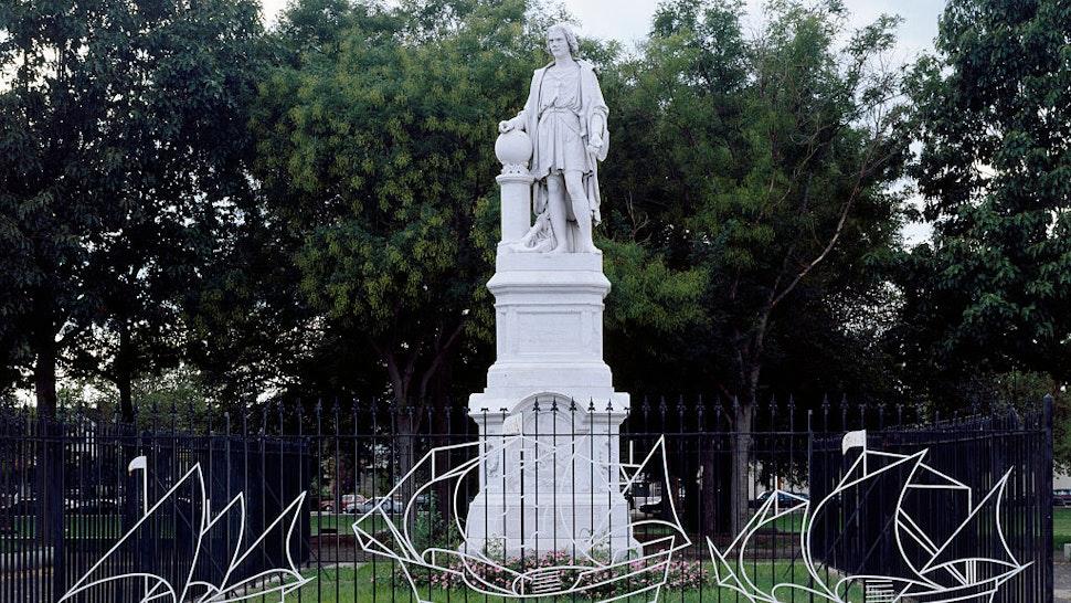 Statue of Christopher Columbus in Marconi Park, Philadelphia, Pennsylvania