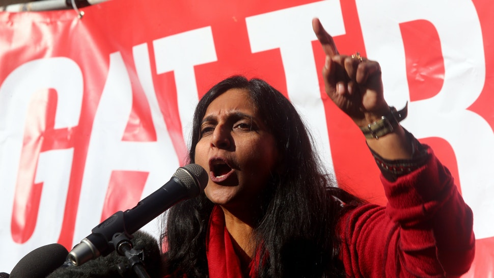 SEATTLE, WA - FEBRUARY 17: Seattle City Council member Kshama Sawant speaks at a rally held outside the courthouse where U.S. District Court for the Western District of Washington at Seattle is hearing Daniel Ramirez Medina v. U.S. Department of Homeland Security on February 17, 2017 in Seattle, Washington. Medina, who was protected by the Deferred Action for Childhood Arrivals (DACA) program, was arrested by Immigration and Customs Enforcement (ICE) on Tuesday. (Photo by Karen Ducey/Getty Images)
