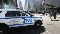 A police car sits in front of One World Trade at ground zero in Manhattan on March 20, 2017 in New York City.