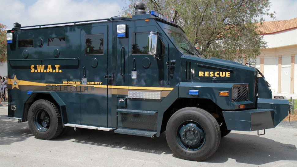 A SWAT rescue police truck.