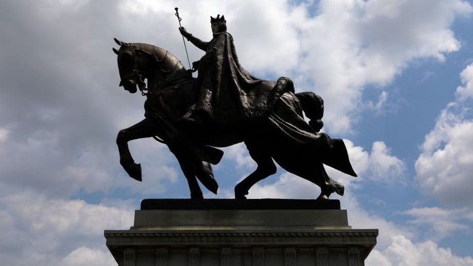'Apotheosis of St. Louis', a statue of King Louis IX of France, the namesake of St. Louis, Missouri stands outside the St. Louis Art Museum in St. Louis, Missouri on August 10, 2017.