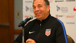 Head coach Bruce Arena speaks during the United States mens national team pre-match press conference at the Hyatt Regency Hotel on October 9, 2017 in Port of Spain,