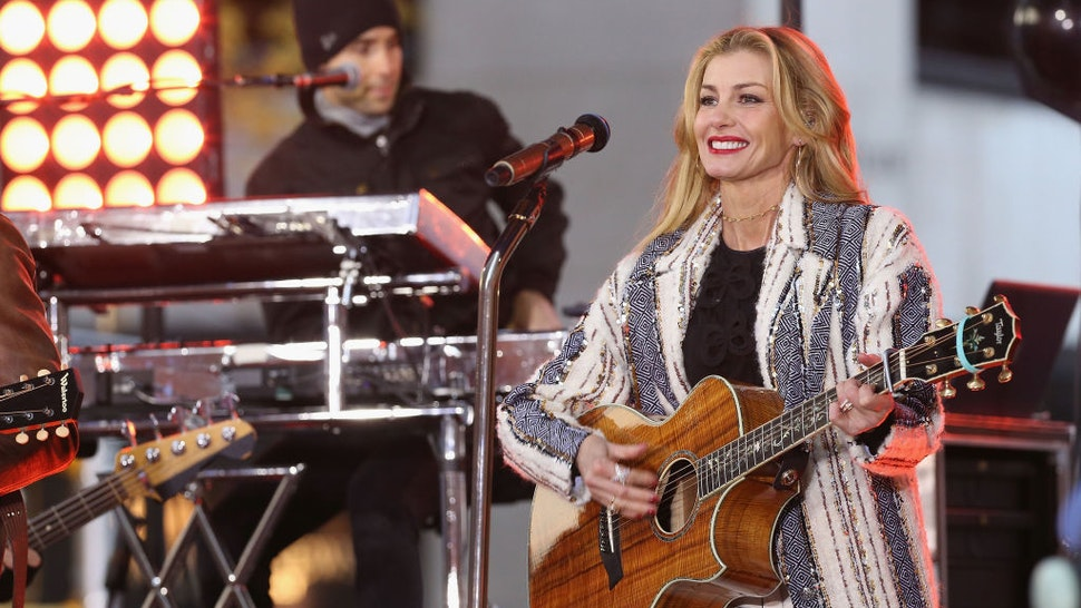 """Faith Hill performs on NBC's """"Today"""" Show at Rockefeller Plaza on November 17, 2017 in New York City."""