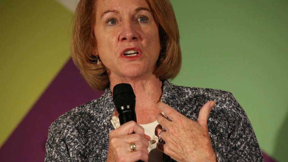 Seattle Mayor Jenny Durkan speaks during a Smarter Cities, Smarter Skills panel discussion at the Wayfair headquarters in Boston on June 8, 2018.
