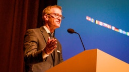 Portland, Oregon Mayor Ted Wheeler speaks at a trade event in Portland, Oregon, United States on 16th May, 2018.
