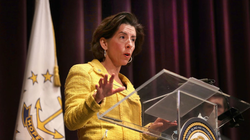 PROVIDENCE, RI - MAY 12: Rhode Island Governor Gina M. Raimondo speaks at a news conference giving a coronavirus update at the Veterans Memorial Auditorium in Providence, RI on May 12, 2020. (Photo by John Tlumacki/The Boston Globe via Getty Images)