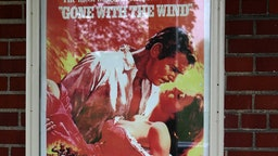 'Gone With The Wind' movie poster displayed outside the Post Theatre, built in 1939 at Historic Fort Wayne in Detroit, Michigan on May 26, 2018. (Photo By Raymond Boyd/Getty Images)