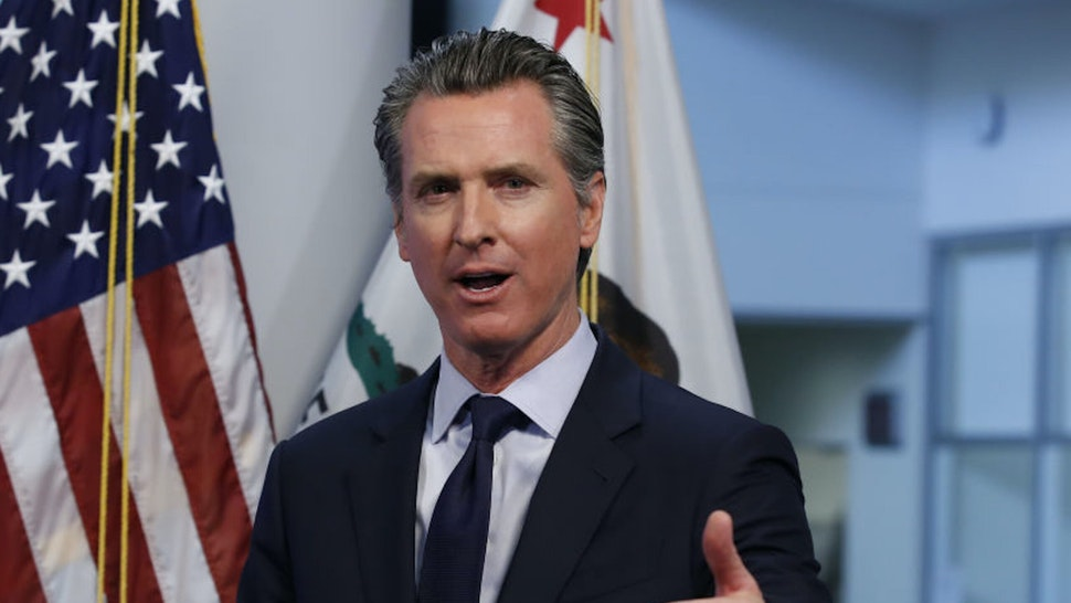 Gavin Newsom, governor of California, speaks during a news conference in Sacramento, California, U.S., on Tuesday, April 14, 2020. Newsom outlined his plan to lift restrictions in the most-populous U.S. state, saying a reopening depends on meeting a series of benchmarks that would remake daily life for 40 million residents.