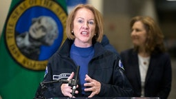 Seattle Mayor jenny Durkan speaks at a press conference on March 28, 2020 in Seattle, Washington. The mayor and other leaders from Washington state discussed the deployment of a new field hospital at CenturyLink Field Event Center which is expected to create at least 150 hospital beds for non-COVID-19 cases and will include 300 soldiers from the 627th Army Hospital at Fort Carson, Colorado. (Photo by Karen Ducey/Getty Images)