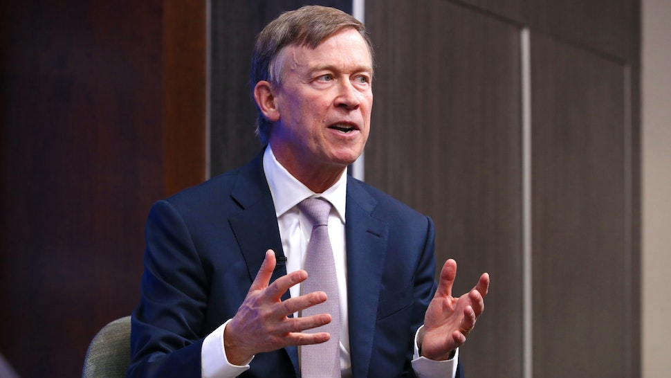 WASHINGTON, DC - OCTOBER 10: Colorado Gov. John Hickenlooper participates in a discussion as part of the Brookings Institution's Middle Class Initiative October 10, 2018 in Washington, DC. Hickenlooper, a Democrat, and Ohio Gov. John Kasich, a Republican, participated in the discussion and found common ground on issues related to the economy, trade, education and other areas. Both governors are seen as potential 2020 presidential candidates.