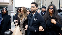 CHICAGO, ILLINOIS - FEBRUARY 24: Flanked by attorneys and supporters, actor Jussie Smollett arrives at the Leighton Criminal Courthouse on February 24, 2020 in Chicago, Illinois. (Photo by Nuccio DiNuzzo/Getty Images)