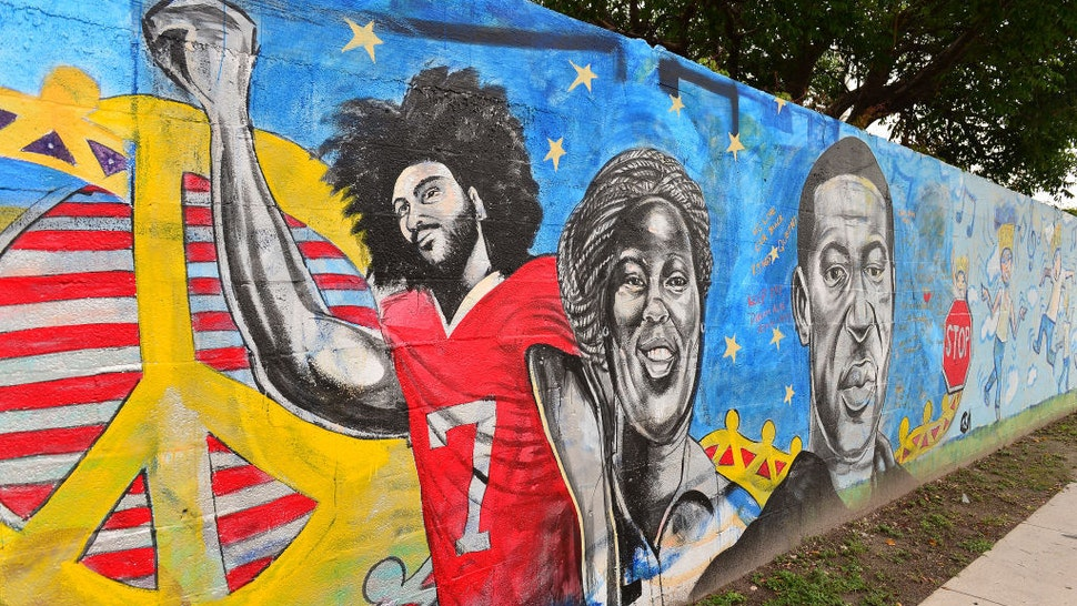 A mural of Colin Kaepernick and George Floyd is seen as protesters demonstrate against police brutality on June 5, 2020 in Miami, Florida. Protesters continue to demand changes on how Police interact with African American after George Floyd died while in police custody in Minneapolis, Minnesota on May 25th. (Photo by Johnny Louis/Getty Images)