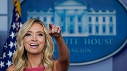 WASHINGTON, DC - JUNE 08: White House Press Secretary Kayleigh McEnany speaks during a press briefing at the White House on June 8, 2020 in Washington, DC. President Trump will meet with law enforcement officers later in the day on Monday.