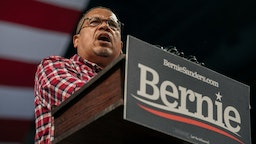 MINNEAPOLIS, MN - NOVEMBER 03: Attorney General Keith Ellison speaks at a campaign rally for Senator (I-VT) and presidential candidate Bernie Sanders at the University of Minnesota's Williams Arena on November, 3, 2019 in Minneapolis, Minnesota. Over 10,000 supporters attended the rally, which was also featured remarks from Representative Ilhan Omar (D-MN). (Photo by Scott Heins/Getty Images)