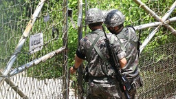 PAJU, SOUTH KOREA - JUNE 16: South Korean soldiers patrol at Imjingak, near the demilitarized zone (DMZ) on June 16, 2020 in Paju, South Korea. North Korea's military said Tuesday it is reviewing plans to re-enter border areas disarmed under inter-Korean agreements, days after the North threatened to take military action over the sending of leaflets by activists from South Korea.