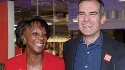 Los Angeles Mayor Eric Garcetti with District Attorney Jackie Lacey. GUESS Headquarters on April 29, 2015 in Los Angeles, California.