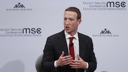 Mark Zuckerberg, chief executive officer and founder of Facebook Inc., gestures as he speaks during the Munich Security Conference at the Bayerischer Hof hotel in Munich, Germany, on Saturday, Feb. 15, 2020. The Libyan conflict is set to be one of the main themes at the annual security conference that runs Feb. 14 - 16. Photographer: Michaela Handrek-Rehle/Bloomberg via Getty Images