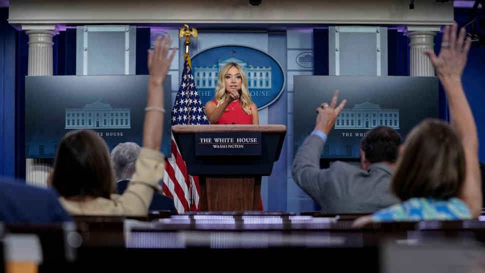 White House Press Secretary Kayleigh McEnany speaks during a press briefing at the White House on June 10, 2020 in Washington, DC. McEnany stated that President Trump does not support any name changes for U.S. military bases named after Confederate generals. (Photo by Drew Angerer/Getty Images)