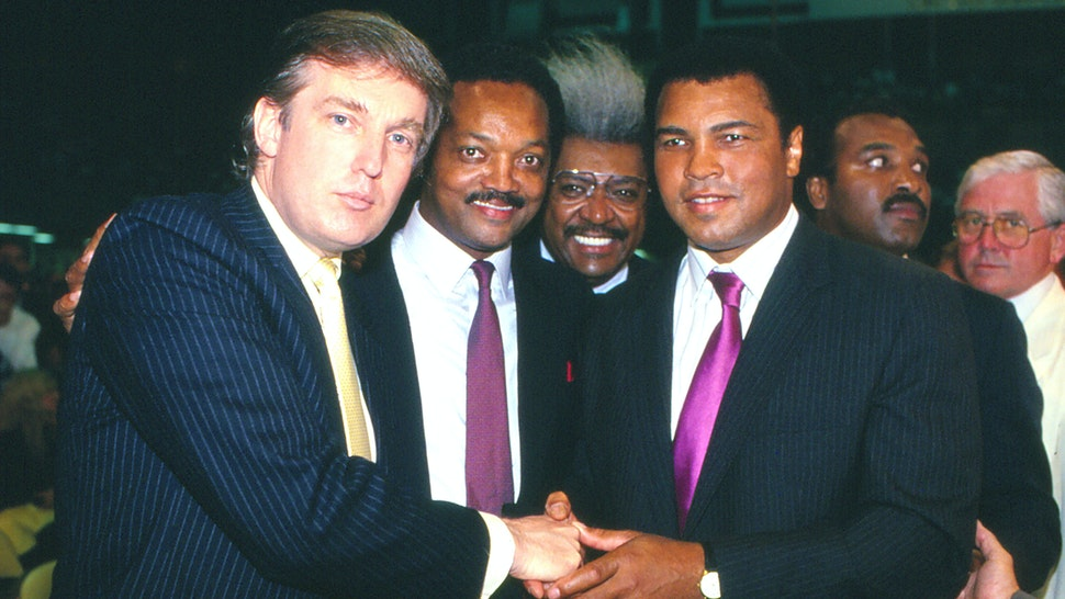 ATLANTIC CITY, NJ - JUNE 27: Businessman Donald Trump, Jessie Jackson, Don King and Muhammad Ali ringside at Tyson vs Holmes Convention Hall in Atlantic City, New Jersey June 27 1988.