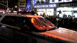 A police car with smashed wind shield is seen in UnionSquare during a demonstration in response to the death of a Minneapolis man George Floyd on May 29, 2020 in New York City. The video that captured the death of George Floyd implicated the arresting officers sparking days of riots in Minneapolis Minnesota. Governor Tim Waltzs attempt to quell the violence and looting by calling in the National Guard, failed to enforce the curfew. (Photo by John Lamparski/NurPhoto via Getty Images)