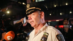 NEW YORK, NEW YORK - JUNE 03: Chief of Department Terence Monahan, the New York Police Department's highest-ranking uniformed officer, speaks to the media at the scene of a mass arrest of protesters in Manhattan over the killing of George Floyd by a Minneapolis Police officer on June 03, 2020 in New York City. The white police officer, Derek Chauvin, has been charged with second-degree murder and the three other officers who participated in the arrest have been charged with aiding and abetting second-degree murder. Floyd's death, the most recent in a series of deaths of black Americans at the hands of police, has set off days and nights of protests across the country.
