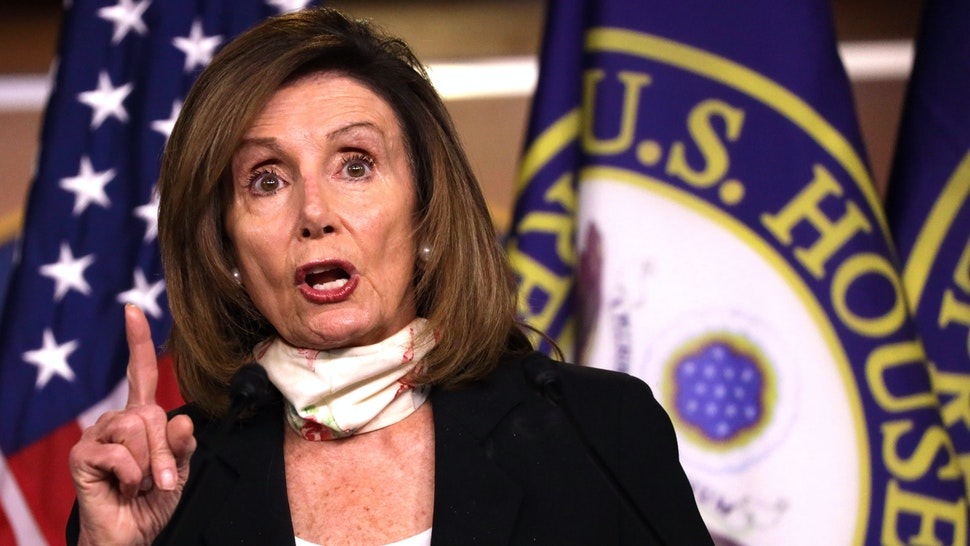 WASHINGTON, DC - MAY 28: U.S. Speaker of the House Rep. Nancy Pelosi (D-CA) speaks during a weekly news conference May 28, 2020 on Capitol Hill in Washington, DC. Speaker Pelosi discussed various topics including the death of George Floyd after being detained by police in Minneapolis, Minnesota, and the imposing of national security law to override Hong Kong's autonomy by the Chinese government.