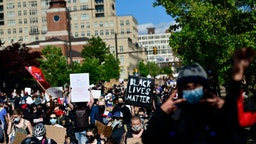 "PHILADELPHIA, PA - JUNE 01: protesters with a ""BLACK LIVES MATTER"" sign march through Center City on June 1, 2020 in Philadelphia, Pennsylvania. Demonstrations have erupted all across the country in response to George Floyd's death in Minneapolis, Minnesota while in police custody a week ago."
