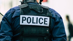 Reims France May 18, 2019 Close up of the French National Police in intervention against the rioters during protests of the Yellow Jackets in the streets of Reims on saturday afternoon (Reims France May 18, 2019 Close up of the French National Police