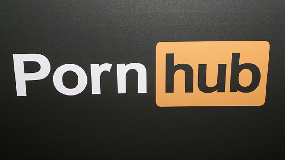 LAS VEGAS, NV - JANUARY 25: A Pornhub logo is displayed at the company's booth during the 2018 AVN Adult Expo at the Hard Rock Hotel & Casino on January 25, 2018 in Las Vegas, Nevada.