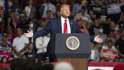U.S. President Donald Trump speaks during a rally in Tulsa, Oklahoma, U.S., on Saturday, June 20, 2020. Trump's first campaign rally since the coronavirus pandemic took hold in the U.S. drew far fewer supporters than the president and his advisers had predicted, a downbeat end to a day of controversy over efforts to oust a top prosecutor in New York. Photographer: Go Nakamura/Bloomberg via Getty Images
