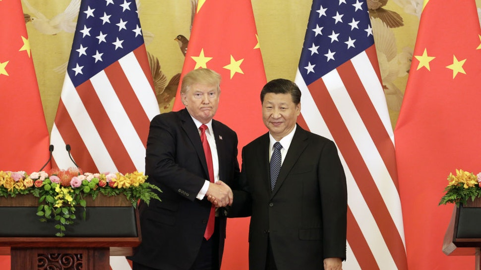 U.S. President Donald Trump, left, and Xi Jinping, China's president, shake hands during a news conference at the Great Hall of the People in Beijing, China, on Thursday, Nov. 9, 2017. Monday, January 20, 2020, marks the third anniversary of U.S. President Donald Trump's inauguration. Our editors select the best archive images looking back over Trumps term in office. Photographer: Qilai Shen/Bloomberg via Getty Images