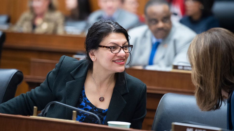 UNITED STATES - FEBRUARY 27: Rep. Rashida Tlaib, D-Mich., attends the House Financial Services Committee markup on the Housing Fairness Act of 2020 and many other amendments in Rayburn Building on Thursday, February 27, 2020. (Photo By Tom Williams/CQ-Roll Call, Inc via Getty Images)