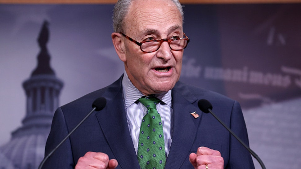 WASHINGTON, DC - JUNE 09: Senate Minority Leader Chuck Schumer (D-NY) speaks at a press conference June 09, 2020 in Washington, DC. Schumer and Sen. Mazie Hirono (D-HI) answered questions related to reforming law enforcement policies in the wake of the death of George Floyd.
