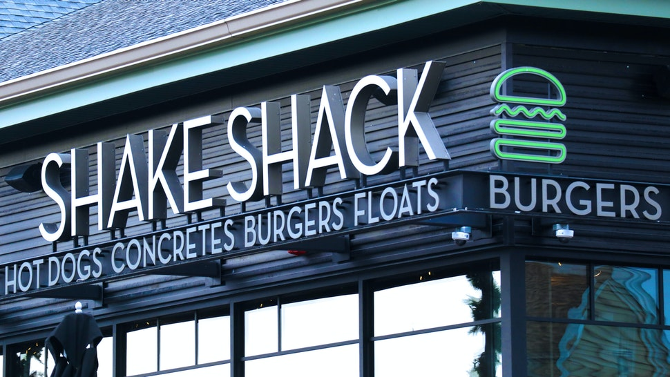 CENTRAL VALLEY, NY - NOVEMBER 17: A Shake Sack sign hangs in front of their restaurant at the Woodbury Common Premium Outlets shopping mall on November 17, 2019 in Central Valley, New York.