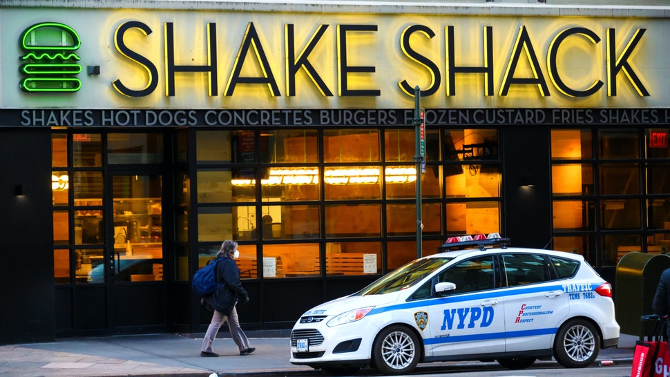 NEW YORK, NEW YORK - MAY 13: A view outside Shake Shack in Herald Square during the coronavirus pandemic on May 13, 2020 in New York City. COVID-19 has spread to most countries around the world, claiming over 298,000 lives with over 4.4 million infections reported.