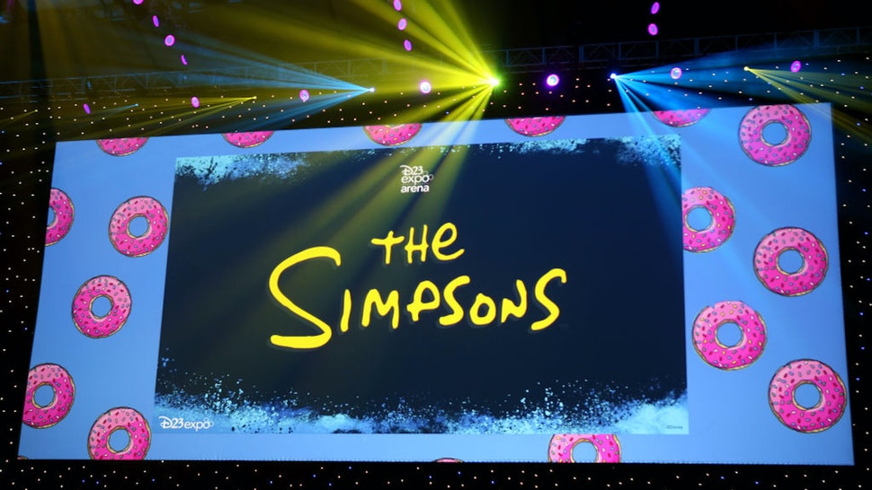 ANAHEIM, CALIFORNIA - AUGUST 24: A view of the screen at The Simpsons! panel during the 2019 D23 Expo at Anaheim Convention Center on August 24, 2019 in Anaheim, California.