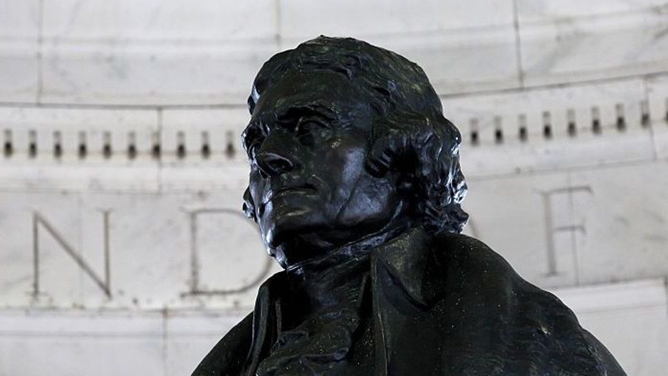 Rudulph Evans' Thomas Jefferson statue sits inside the rotunda of the Thomas Jefferson Memorial on April 10, 2015 in Washington, D.C. (Photo By Raymond Boyd/Getty Images)
