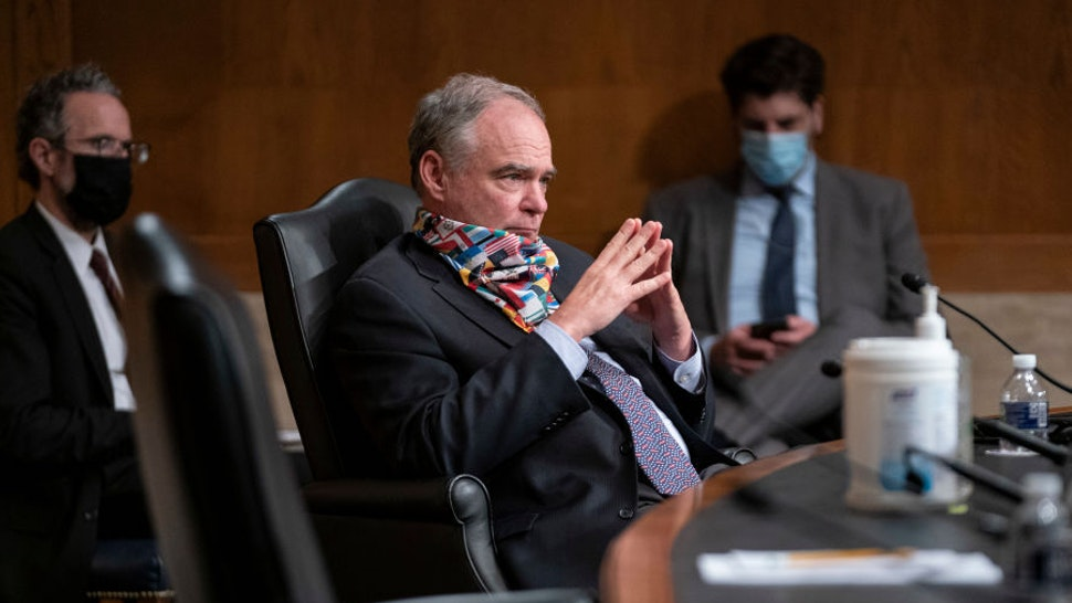 Sen. Tim Kaine (D-VA) listens during a Senate Health, Education, Labor, and Pensions hearing on a plan for students to safely return to college amid the COVID-19 pandemic on Capitol Hill on June 4, 2020 in Washington, DC.Top university officials testified about how to return students to college campuses safely in the fall after the coronavirus outbreak sent most students home early in the spring. (Photo by Sarah Silbiger/Getty Images)