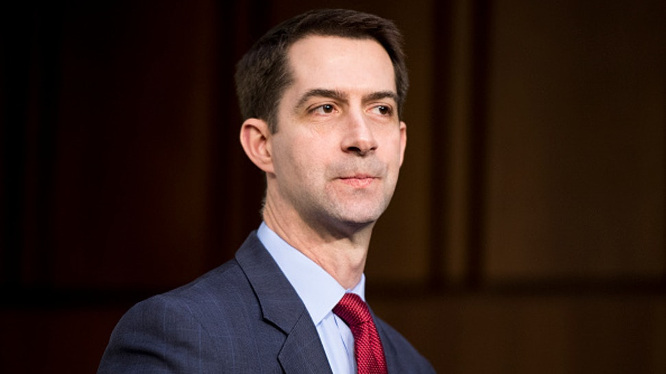 """UNITED STATES - JANUARY 29: Sen. Tom Cotton, R-Ark., arrives for the Senate Select Intelligence Committee hearing on """"Worldwide Threats"""" on Tuesday, Jan. 29, 2018."""