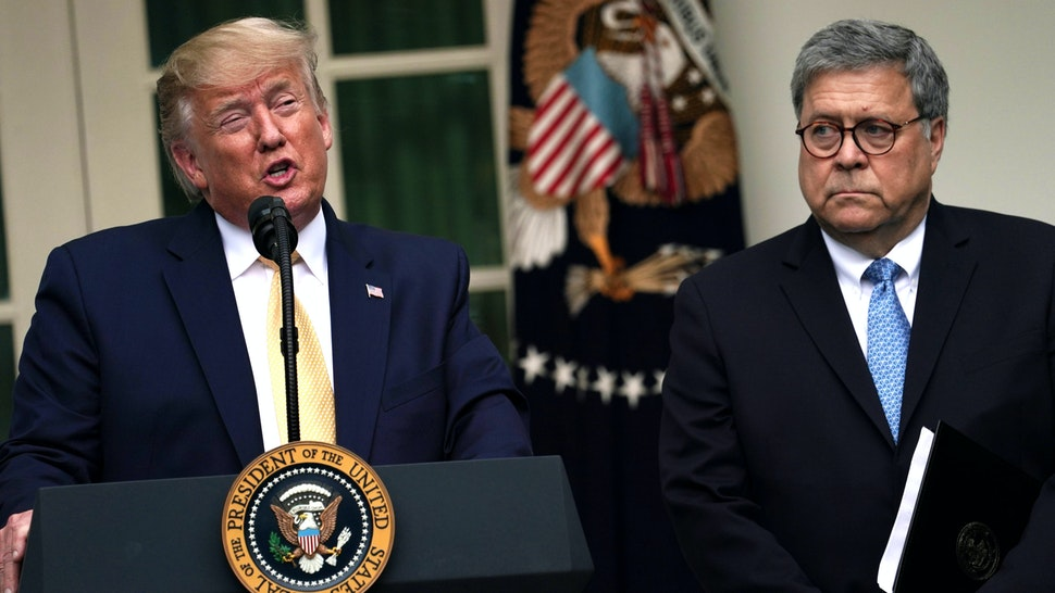 WASHINGTON, DC - JULY 11: U.S. President Donald Trump makes a statement on the census with Attorney General William Barr in the Rose Garden of the White House on July 11, 2019 in Washington, DC. President Trump, who had previously pushed to add a citizenship question to the 2020 census, announced that he would direct the Commerce Department to collect that data in other ways.