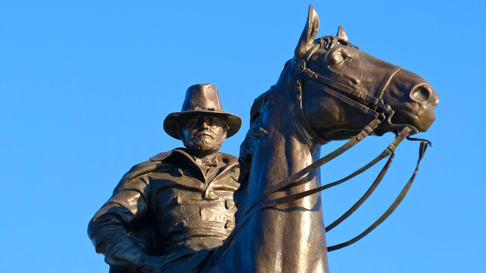 Close-up view of the Ulysses S. Grant Memorial's central, equestrian statue in Washington, D.C. Ulysses S. Grant led the Union Army to victory in the American Civil War as its commanding general and subsequently served as the 18th President of the United States from 1869 – 1877. The memorial, by sculptor Henry Merwin Shrady, was dedicated in 1922.
