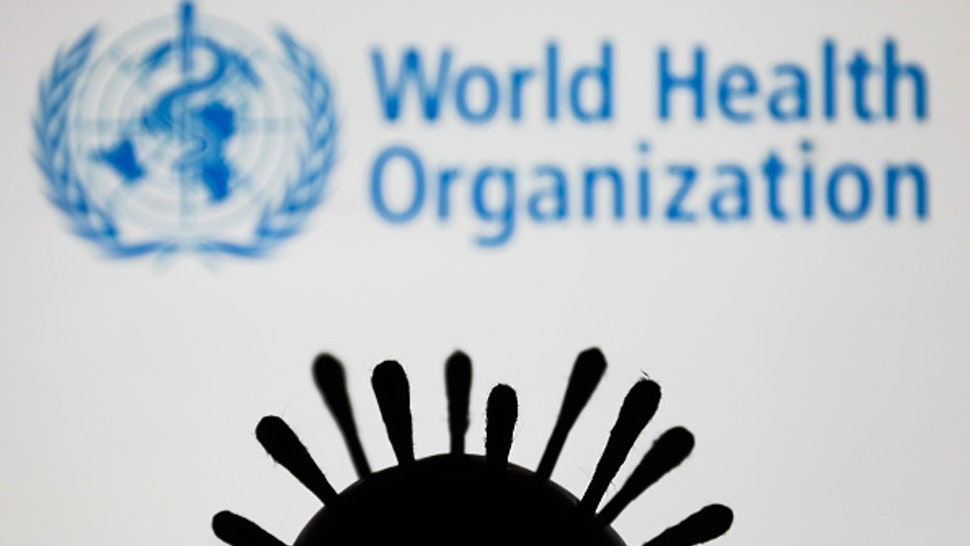 Coronavirus model is seen with World Health Organization ( WHO ) logo in the background in this illustration photo taken in Poland on June 5, 2020.