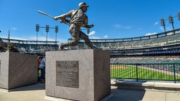 DETROIT, MI - SEPTEMBER 22: The statue honoring former Detroit Tigers great Willie Horton during the Detroit Tigers versus Chicago White Sox game on Sunday September 22, 2019 at Comerica Park in Detroit, MI. (Photo by Steven King/Icon Sportswire via Getty Images)