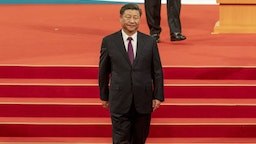Xi Jinping, China's president, walks off the stage during an inauguration ceremony in Macau, China, on Friday, Dec. 20, 2019. Xi praised the work of Macau's government in maintaining stability on Friday as the former Portuguese colony celebrates the 20-year anniversary of its return to Chinese rule. Photographer: Justin Chin/Bloomberg via Getty Images