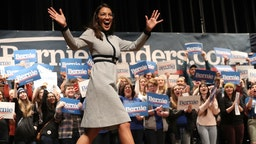 AMES, IOWA - JANUARY 25: Rep. Alexandria Ocasio-Cortez (D-NY) arrives on stage at a campaign event for Democratic presidential candidate Sen. Bernie Sanders (I-VT) at the Ames City Auditorium on January 25, 2020 in Ames, Iowa. Iowa holds the state's caucuses in nine days on February 3. (Photo by