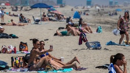 city social distancing regulations mandated by Gov. Newsom in Huntinton Beach, CA, on April 22, 2020. (