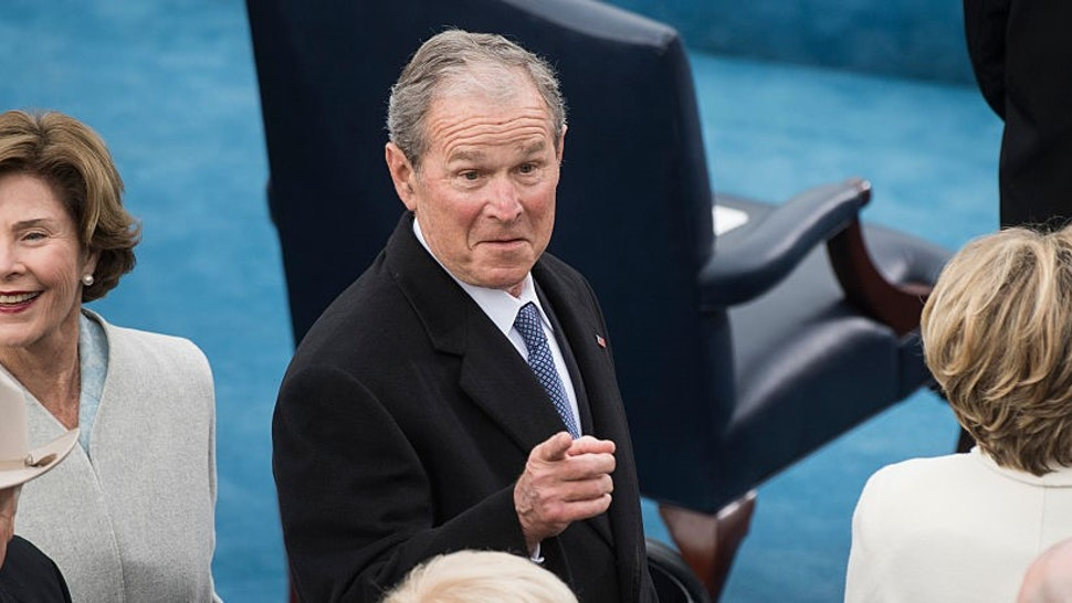 UNITED STATES - JANUARY 20: Former President George W. Bush, former first Lady Laura Bush, left, and Secretary Hillary Clinton, right are seen on the West Front of the Capitol before President Donald J. Trump was sworn in as the 45th President of the United States, January 20, 2017. Former Vice President Dick Cheney, left, and his wife Lynne, also appear. (Photo By T